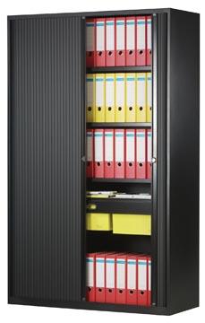 Bisley roldeurkast, ft 198 x 120 x 43 cm (h x b x d), 4 legborden, zwart
