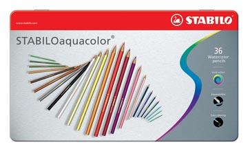 STABILOaquacolor kleurpotlood, metalen doos van 36 stuks in geassorteerde kleuren