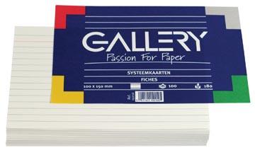 Gallery witte systeemkaarten, ft 10 x 15 cm, gelijnd, pak van 100 stuks