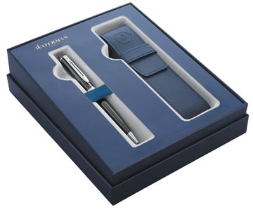 Waterman giftbox balpen Expert black met palladium detail + blauw penzakje