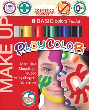 Graine Créative maquillagestiften PlayColor Make up, basiskleuren, kartonnen etui met 6 stiften