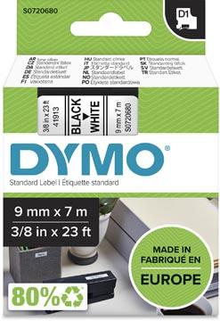 Dymo D1 tape 9 mm, zwart op wit