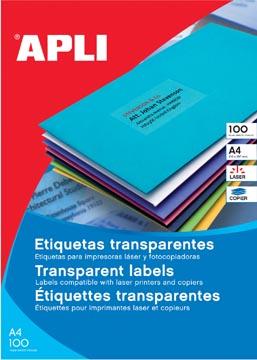 Apli Transparante etiketten ft 210 x 297 mm (b x h), 20 stuks, 1 per blad, doos van 20 blad