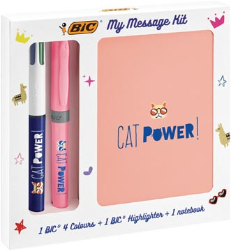 Bic Message Kit Catpower, balpen 4 colours, markeerstift highlighter en notitieboekje ft A6