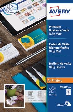 AVERY visitekaarten 185 g/m², 10 per blad, 250 stuks