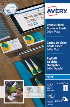 AVERY visitekaarten voor inkjet Quick&Clean mat, 80 kaartjes, 260 g/m²