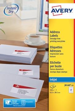Avery J8160-10 adresetiketten ft 63,5 x 38,1 mm (b x h), 210 etiketten, wit