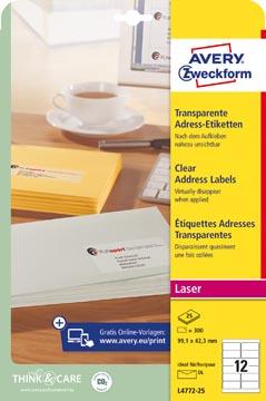 Avery transparante etiketten QuickPEEL ft 99,1 x 42,3 mm (b x h), 300 stuks, 12 per blad